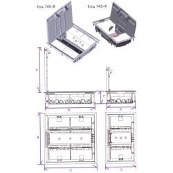 745-4 CI Люк для пола на 4 механизма, цвет серый