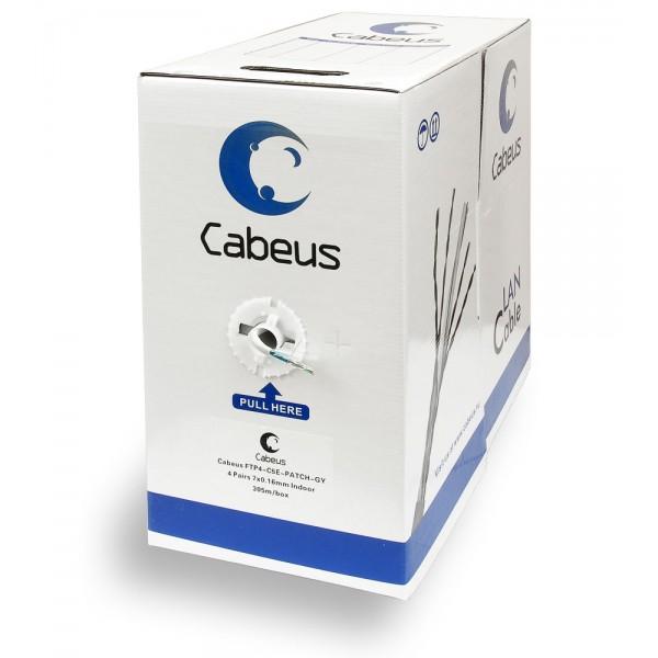 Кабель витая пара Cabeus, F/UTP, 4 пар., кат. 5е, 100МГц, d 5,3 мм , AWG26, PVC, 305м, бухта, цвет: серый Cabeus